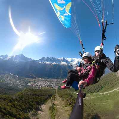 Parapenting above Chamonix in summer